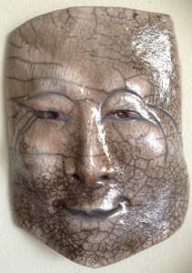 Raku mask w laugh lines